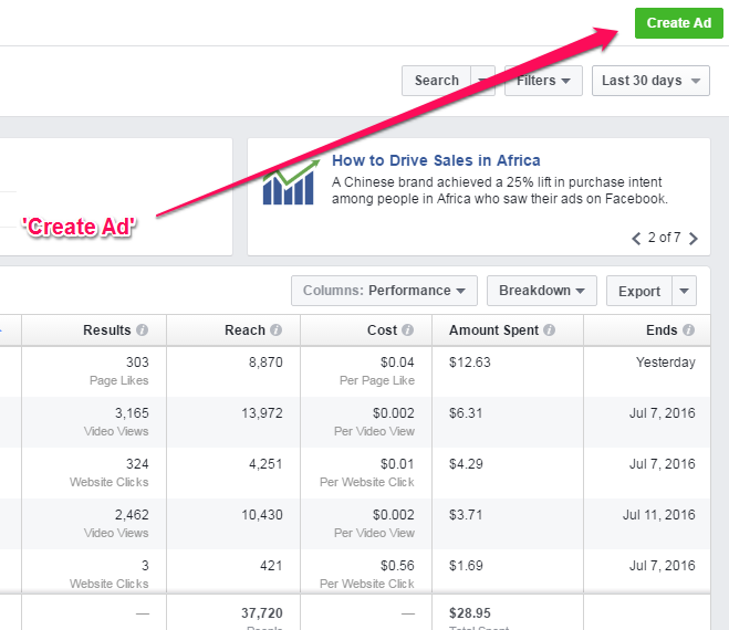 Create Ad Post Facebook ad Manager