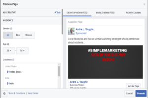 Facebook Ads Manager Promote Page