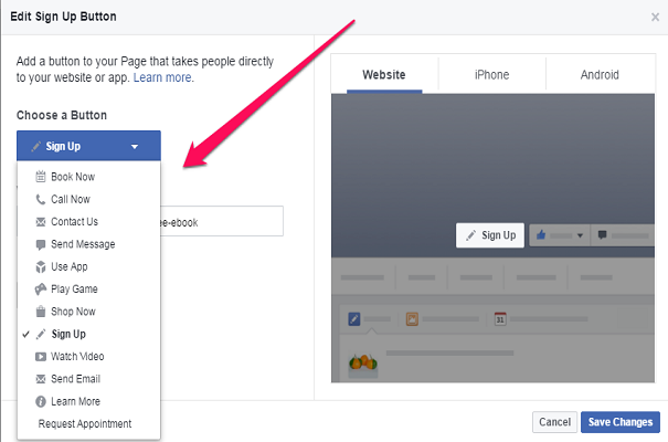 Create Facebook Sign Up Edit Tab