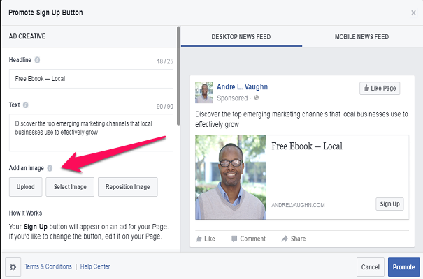 Creating Ads Facebook Sign Up Tab
