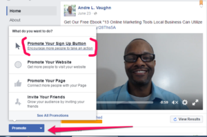 Create Ad Facebook Sign Up Tab