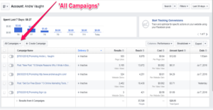 Facebook Ads Manager All Campaigns