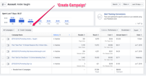 Facebook Ads manager Create Campaign