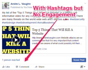 how to use facebook hashtags with no engagement
