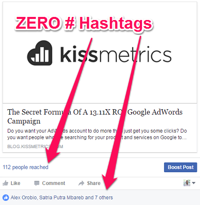 how to use facebook hashtags without engagement