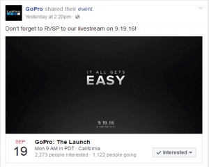 GoPro Karma Drone Facebook Event Post