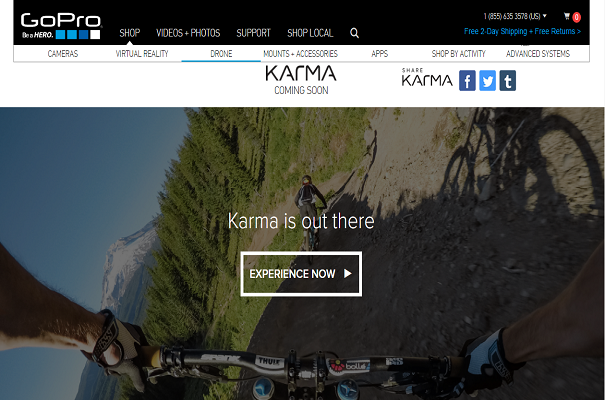 GoPro Karma Drone Website