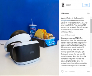 Taco Bell Instagram Account for PlayStation VR