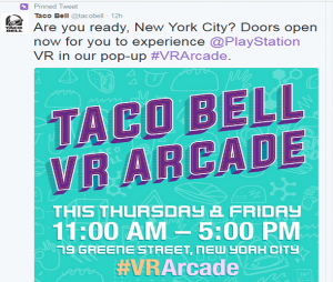 Twitter Taco Bell and PlayStation VR