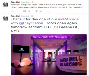 Twitter PlayStation VR and Taco Bell